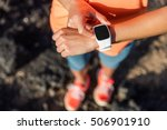 trail runner athlete using her... | Shutterstock . vector #506901910