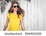 summer portrait of hipster... | Shutterstock . vector #506902330