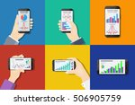 smartphones in hands on colored ... | Shutterstock . vector #506905759