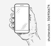 mobile phone in hand front view.... | Shutterstock .eps vector #506906674