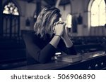 woman sitting church religion... | Shutterstock . vector #506906890