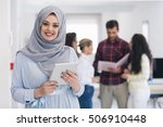 arabic business woman working... | Shutterstock . vector #506910448