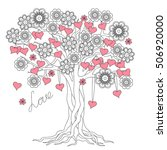 hand drawn decorated tree of... | Shutterstock .eps vector #506920000