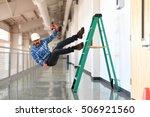 construction worker falling off ... | Shutterstock . vector #506921560