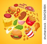 fast food elements   vector... | Shutterstock .eps vector #506928484