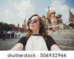 pretty young woman tourist... | Shutterstock . vector #506932966