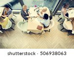 business people dining together ... | Shutterstock . vector #506938063