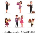 set of characters with a cake.... | Shutterstock .eps vector #506938468