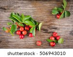 Small photo of Acerola cherry of thailand soft focus on White background