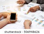 human hands of group coworkers... | Shutterstock . vector #506948626
