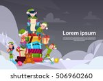 christmas elf group cartoon... | Shutterstock .eps vector #506960260