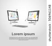 desktop modern computer graphic ... | Shutterstock .eps vector #506961148