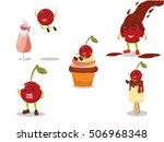 cherry cartoon illustration... | Shutterstock .eps vector #506968348