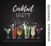 chalk drawings. cocktail menu | Shutterstock .eps vector #506969350