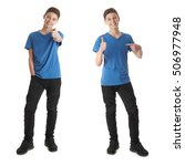cute teenager boy in blue t... | Shutterstock . vector #506977948