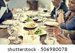business people dining together ... | Shutterstock . vector #506980078