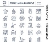 vector line icons of coffee... | Shutterstock .eps vector #506991808