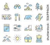 camping icon set in color and... | Shutterstock .eps vector #506994634