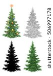 set christmas trees  with... | Shutterstock . vector #506997178