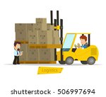 cartoon concept of a logistics... | Shutterstock .eps vector #506997694
