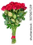 Stock photo bouquet of dark red rose buds with green leaves isolated on white background 507007159