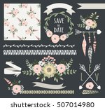 rustic floral wreath elements.... | Shutterstock .eps vector #507014980