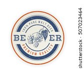 round beer emblem with hand... | Shutterstock .eps vector #507023464