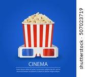 popcorn and stereo glasses on...   Shutterstock .eps vector #507023719