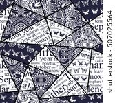hand drawn seamless patchwork... | Shutterstock .eps vector #507025564