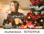 young happy woman eating... | Shutterstock . vector #507025918