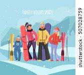 skier family on vacation.... | Shutterstock .eps vector #507028759