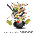 large iron skillet with falling ... | Shutterstock . vector #507034588