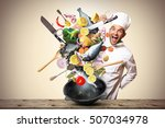 large iron skillet with falling ... | Shutterstock . vector #507034978