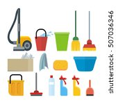 cleaning tools isolated on... | Shutterstock . vector #507036346