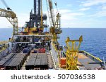a supply vessel docking at an... | Shutterstock . vector #507036538
