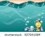 cartoon vector underwater... | Shutterstock .eps vector #507041089