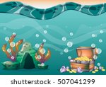 cartoon vector underwater... | Shutterstock .eps vector #507041299