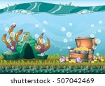 cartoon vector underwater... | Shutterstock .eps vector #507042469