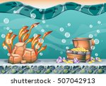 cartoon vector underwater... | Shutterstock .eps vector #507042913