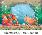 cartoon vector underwater... | Shutterstock .eps vector #507046450
