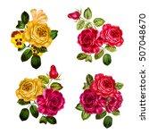 set of vintage floral  bouquet... | Shutterstock . vector #507048670