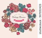 flower vintage styled sketch... | Shutterstock .eps vector #507052423