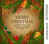 christmas card with garland... | Shutterstock .eps vector #507053260