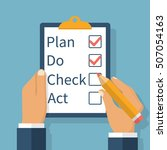 plan do check act. businessman... | Shutterstock .eps vector #507054163