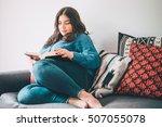 beautiful plus size girl... | Shutterstock . vector #507055078