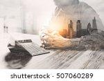 double exposure businessman... | Shutterstock . vector #507060289