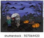 halloween card. shy cat... | Shutterstock .eps vector #507064420