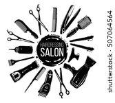 black graphic hairdresser... | Shutterstock .eps vector #507064564