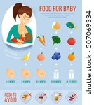 food for baby infographic.... | Shutterstock .eps vector #507069334