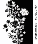 curly floral ornament. black... | Shutterstock . vector #507072754
